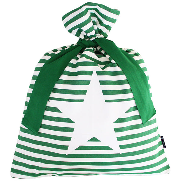 CLASSIC STRIPE SANTA SACK / GREEN STAR