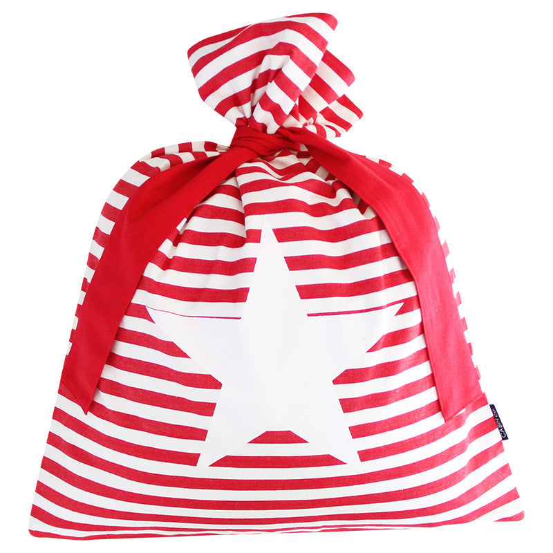 CLASSIC STRIPE SANTA SACK / RED STAR