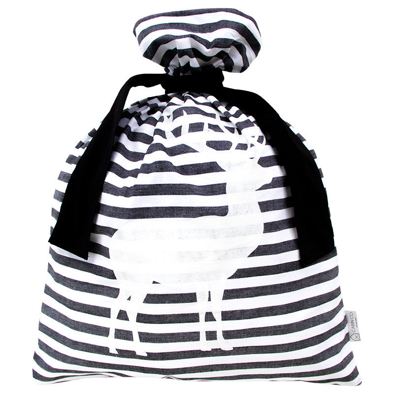 CLASSIC STRIPE SANTA SACK / SCANDI BLACK
