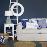 SAILOR STRIPE LINEN THROW - NAVY