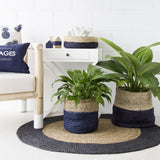 NAVY / NATURAL JUTE BASKET - SMALL