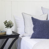 NAVY MERINO WOOL BLEND CUSHION WITH LEATHER 55cm x 55cm