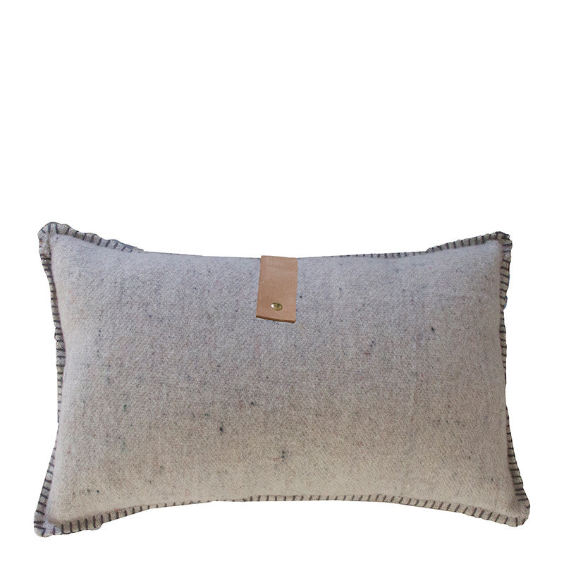 GREY MERINO WOOL BLEND CUSHION WITH LEATHER 35cm x 55cm