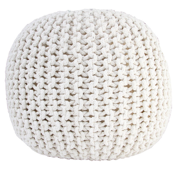 NATURAL KNITTED ROPE OTTOMAN