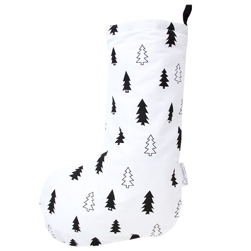 SCANDI TREE CHRISTMAS STOCKING - WHITE/BLACK