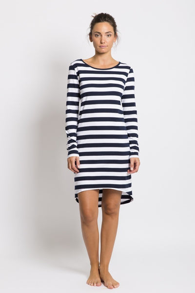 LONG SLEEVE DRESS, NAVY & WHITE STRIPE