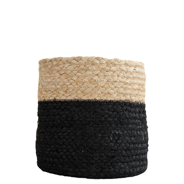 BLACK / NATURAL JUTE BASKET - SMALL