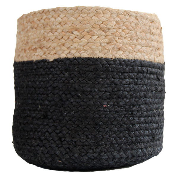 BLACK / NATURAL JUTE BASKET - LARGE