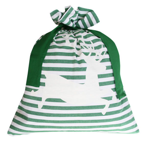 CLASSIC STRIPE SANTA SACK / GREEN DEER