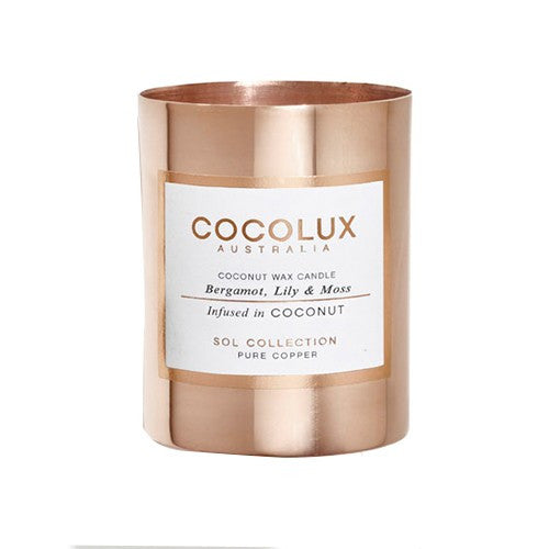 COCOLUX COPPER CANDLE BERGAMONT LILY & MOSS 350G