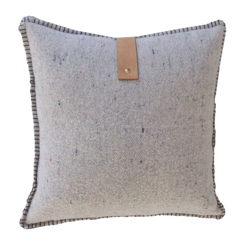 GREY MERINO WOOL BLEND CUSHION WITH LEATHER 55cm