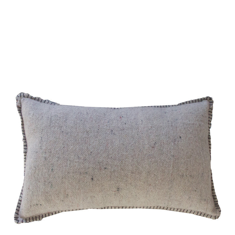GREY MERINO WOOL BLEND CUSHION 35cm x 55cm