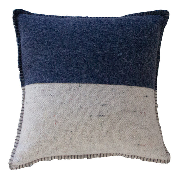 NAVY / GREY MERINO WOOL BLEND CUSHION 55cm x 55cm