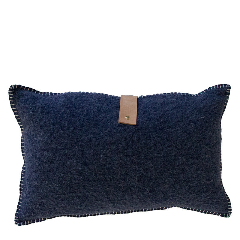 NAVY MERINO WOOL BLEND CUSHION WITH LEATHER 35cm x 55cm