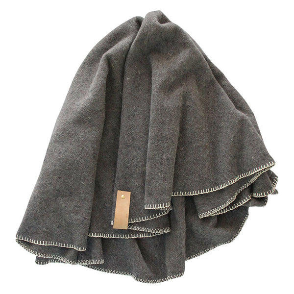 PORTSEA ROUND THROW BLANKET DARK GREY
