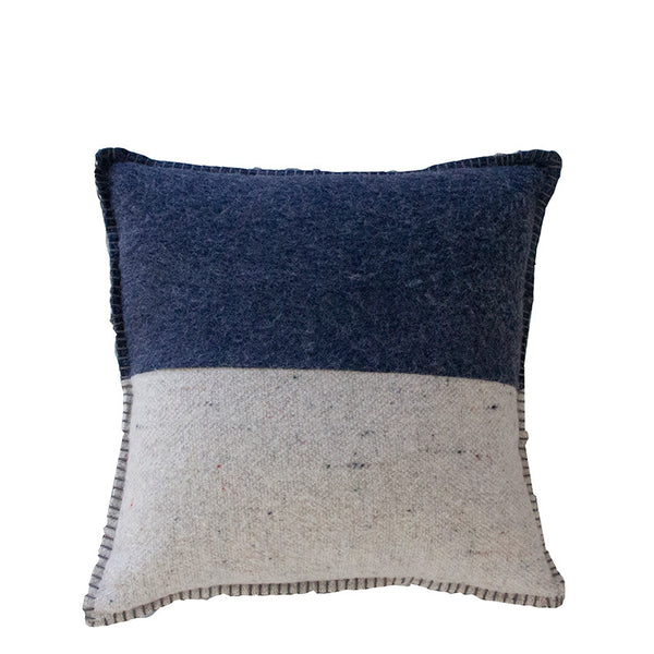 NAVY / GREY MERINO WOOL BLEND CUSHION 45cm x 45cm