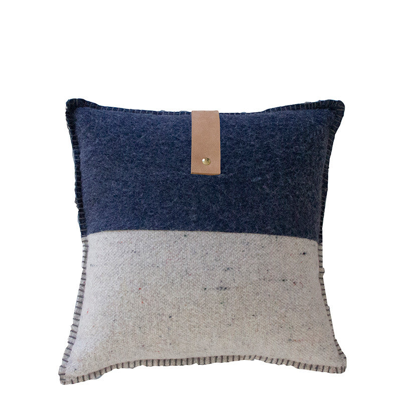NAVY / GREY MERINO WOOL BLEND CUSHION WITH LEATHER 45cm x 45cm