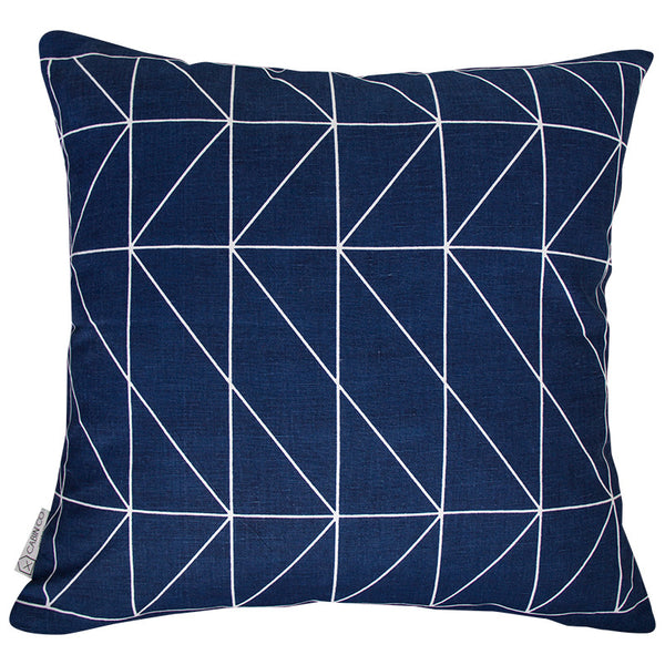 GEOMETRIC NAVY CUSHION COVER