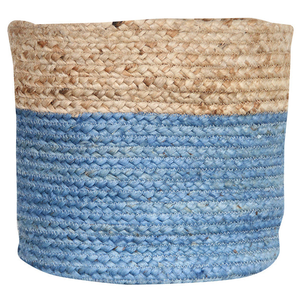 LIGHT BLUE / NATURAL JUTE BASKET - LARGE