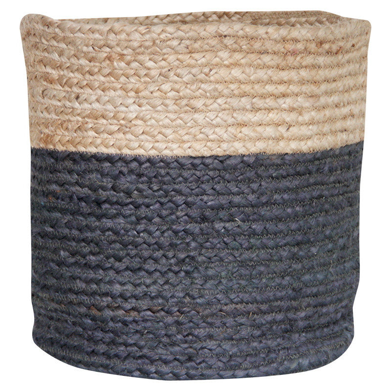 CHARCOAL / NATURAL JUTE BASKET - SMALL