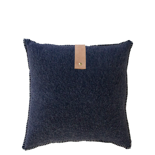 NAVY MERINO WOOL BLEND CUSHION WITH LEATHER 45cm x 45cm