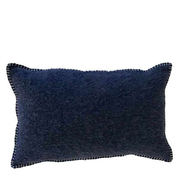 NAVY MERINO WOOL BLEND CUSHION 35cm x 55cm