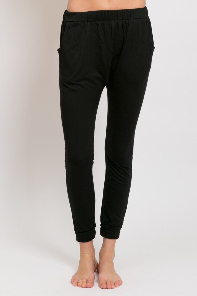 DROP SLOUCH PANTS, ORGANIC COTTON BLACK