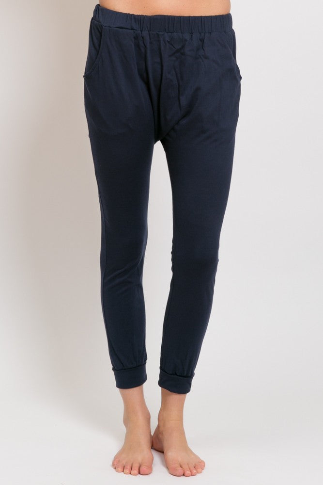 DROP SLOUCH PANTS, ORGANIC COTTON NAVY