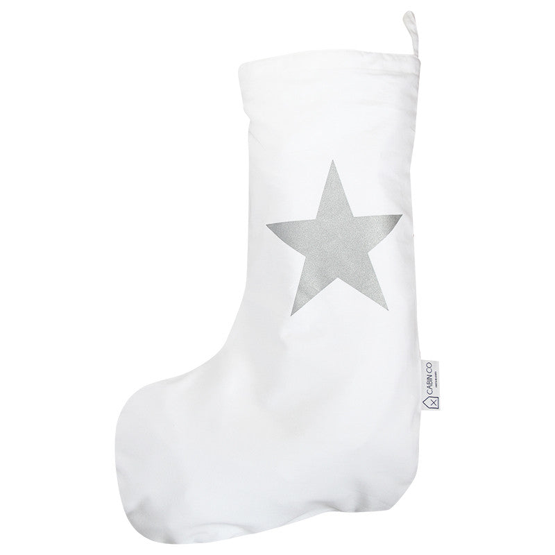 STAR CHRISTMAS STOCKING - SILVER