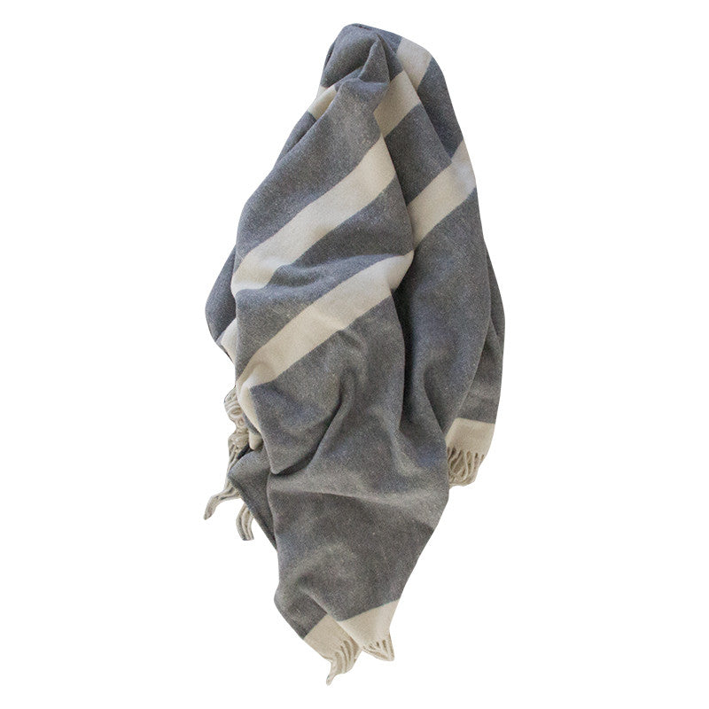 HUDSON 100% WOOL THROW BLANKET GREY