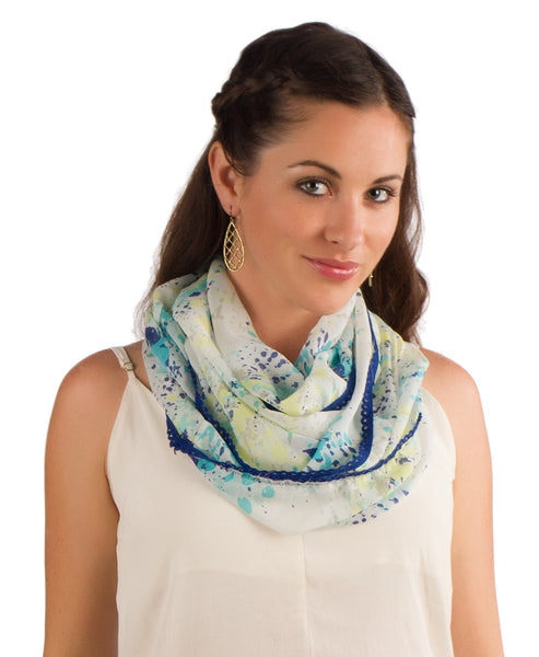White Yellow & Blue Watercolor Infinity Scarf