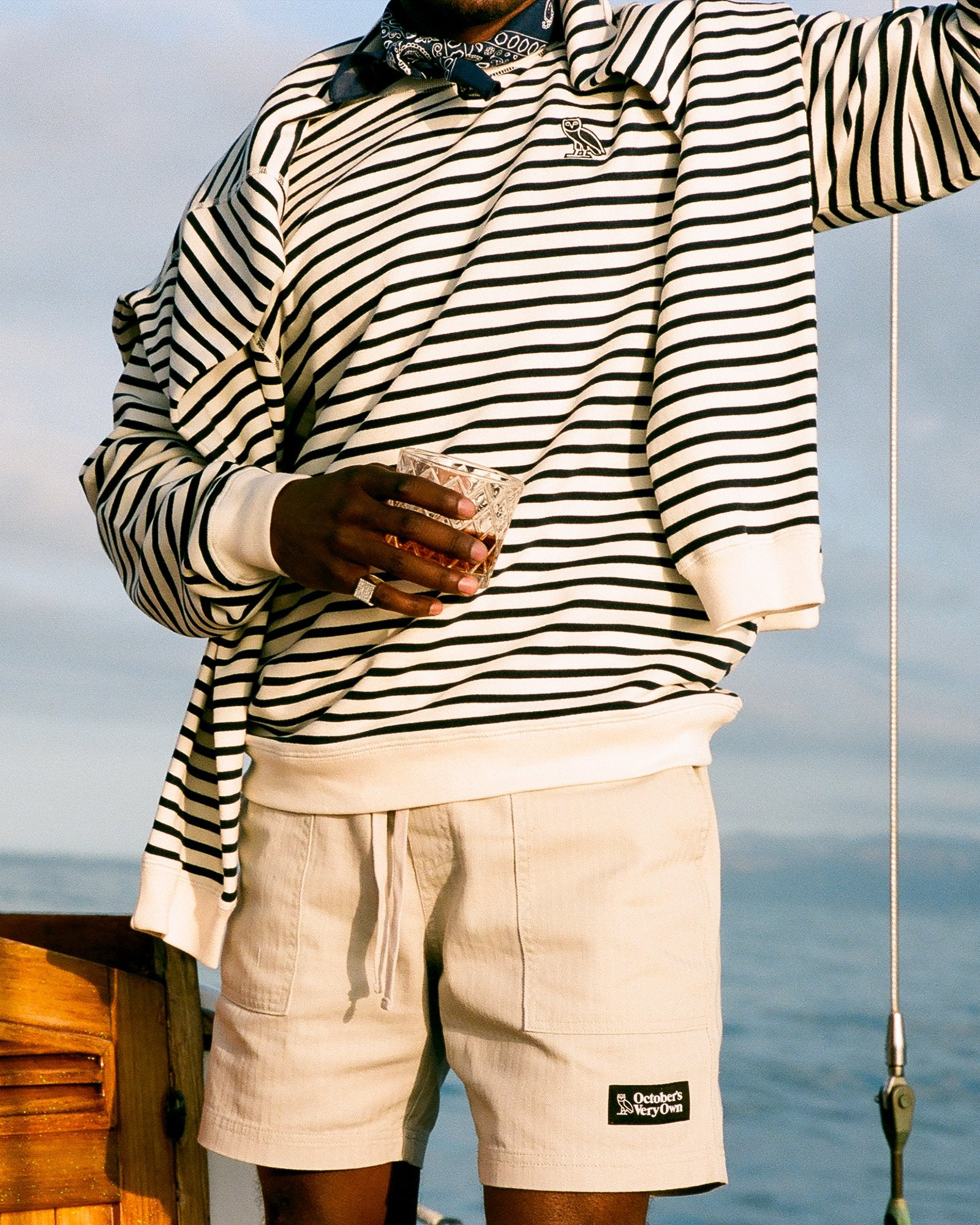 NAUTICAL STRIPE CREWNECK - NAVY/CREAM IMAGE #2