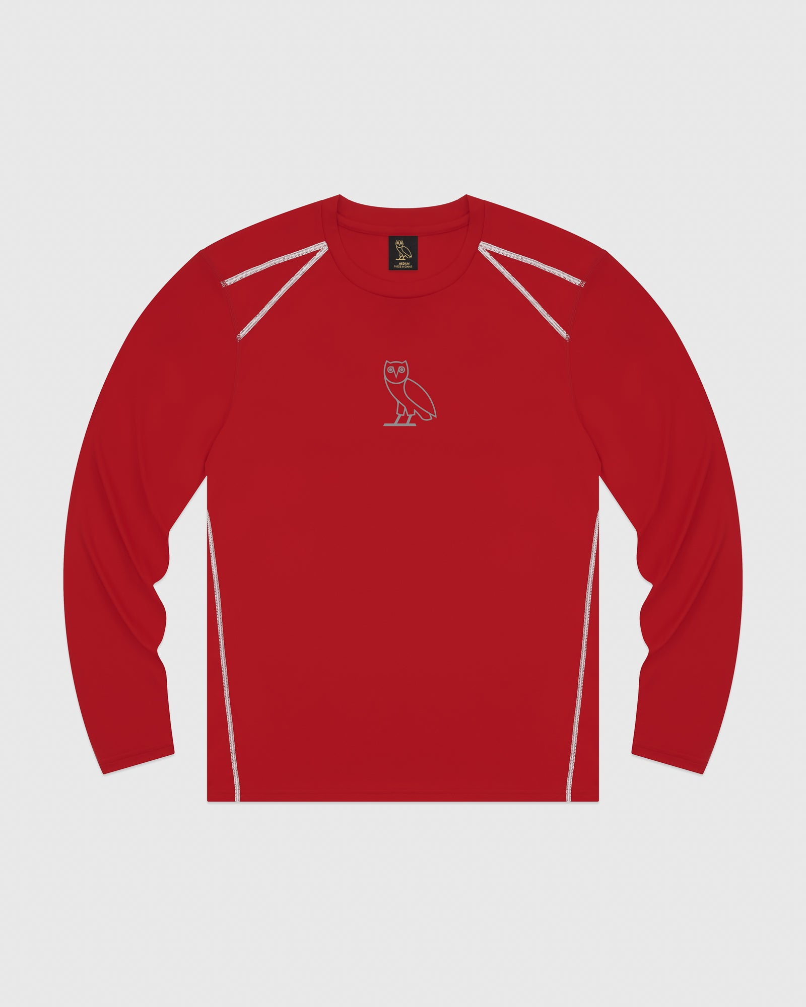 OVO OWL PERFORMANCE LONGSLEEVE T-SHIRT - RED IMAGE #1