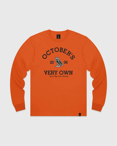 OVO COLLEGIATE LONGSLEEVE T-SHIRT - ORANGE
