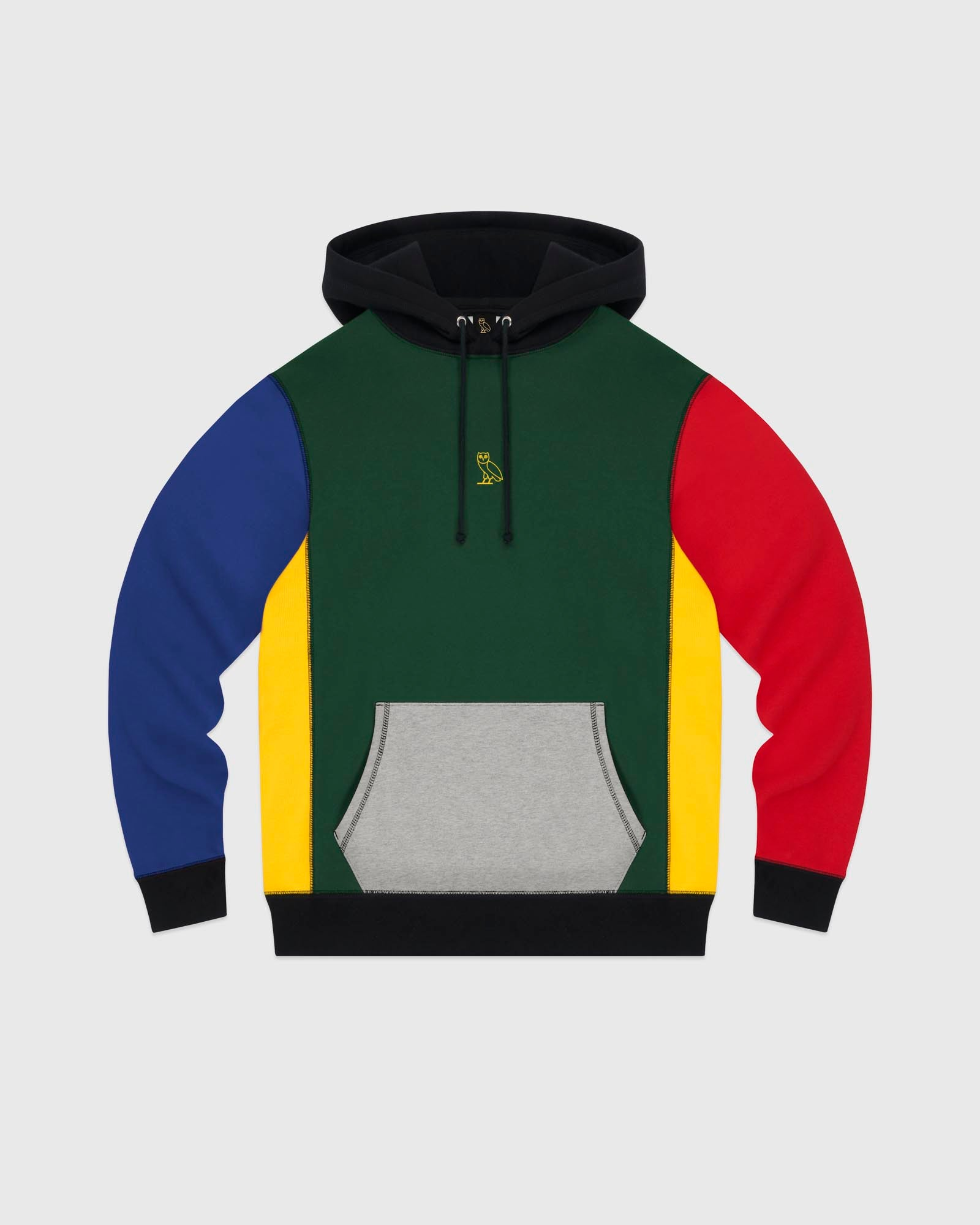 COLOUR BLOCK OWL HOODIE - MULTI COLOUR IMAGE #1