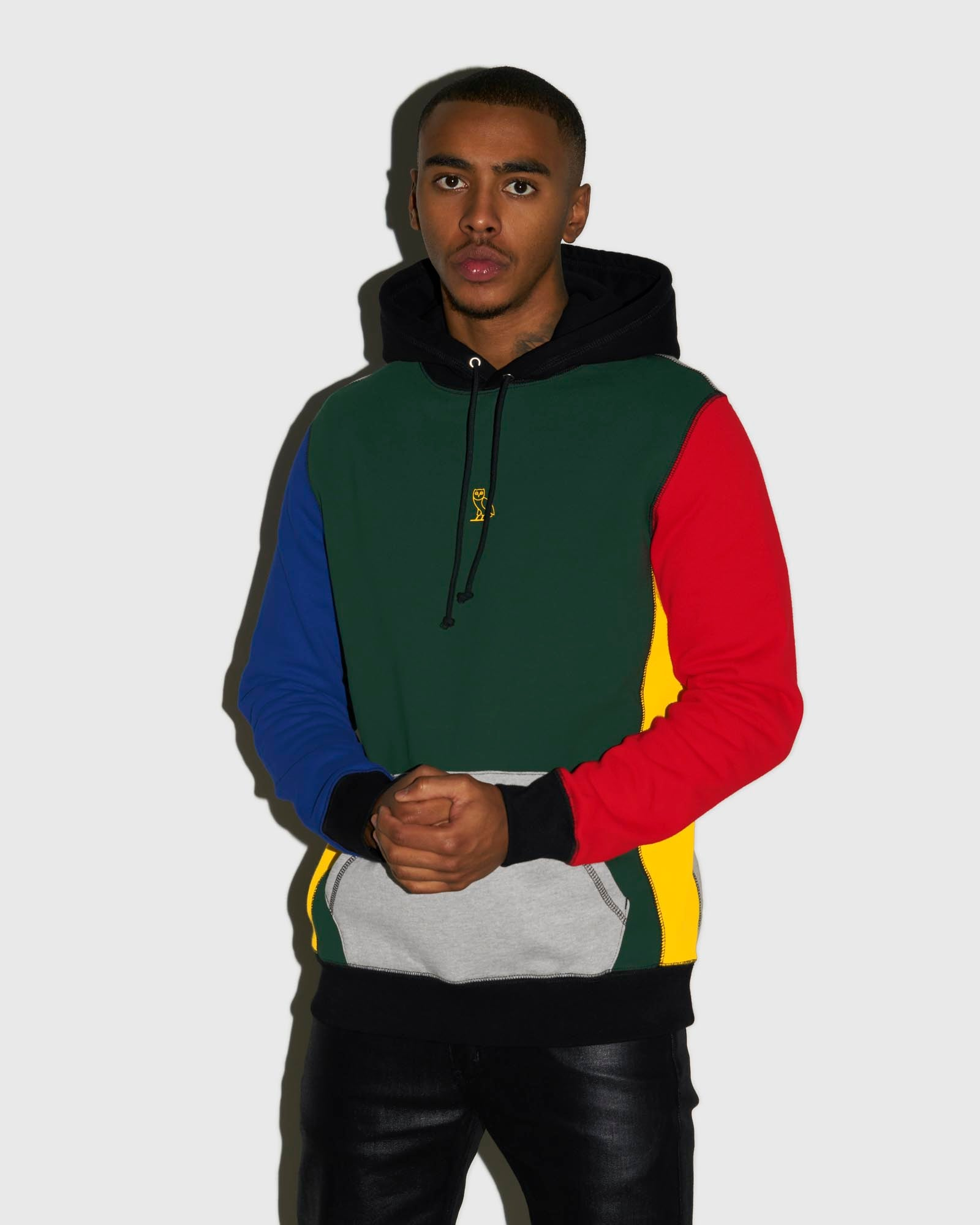 COLOUR BLOCK OWL HOODIE - MULTI COLOUR IMAGE #2
