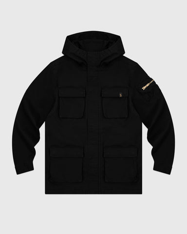 HOODED CARGO JACKET - BLACK