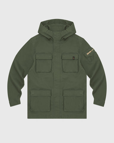 HOODED CARGO JACKET - MILITARY GREEN