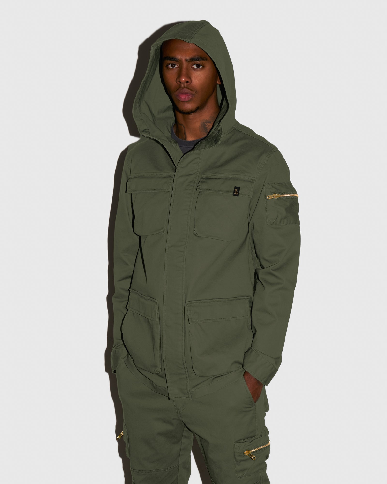HOODED CARGO JACKET - MILITARY GREEN IMAGE #2