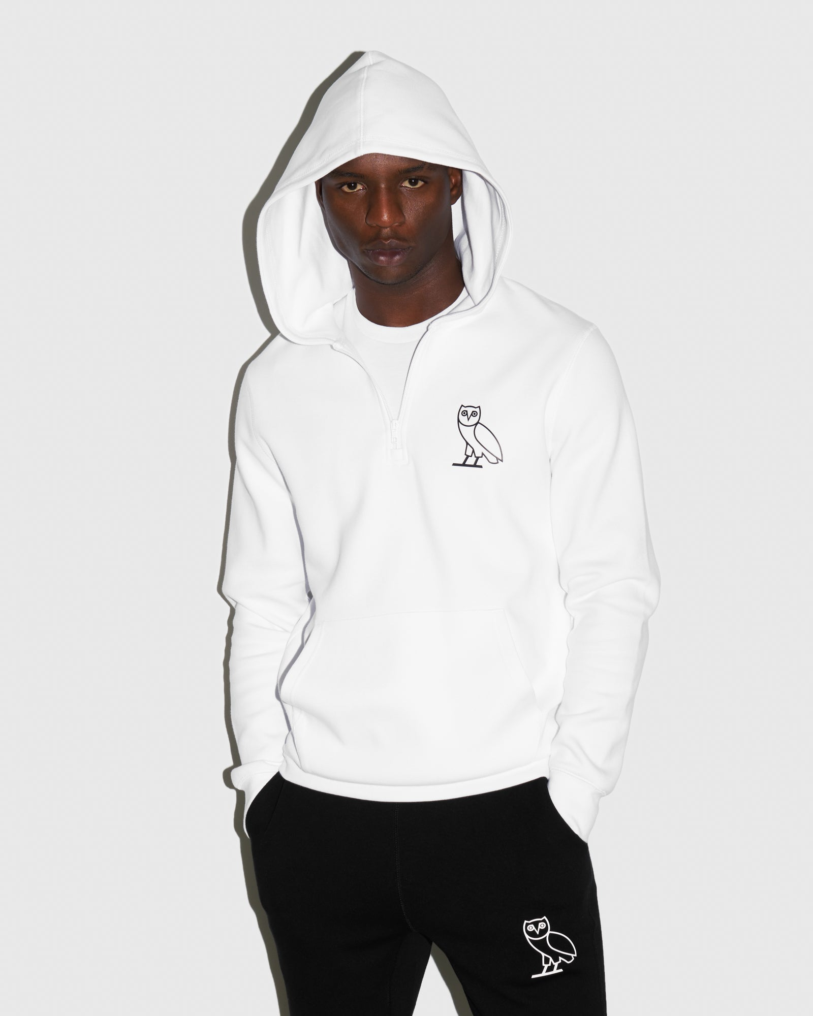 DOUBLE KNIT QUARTER-ZIP HOODIE - WHITE IMAGE #2