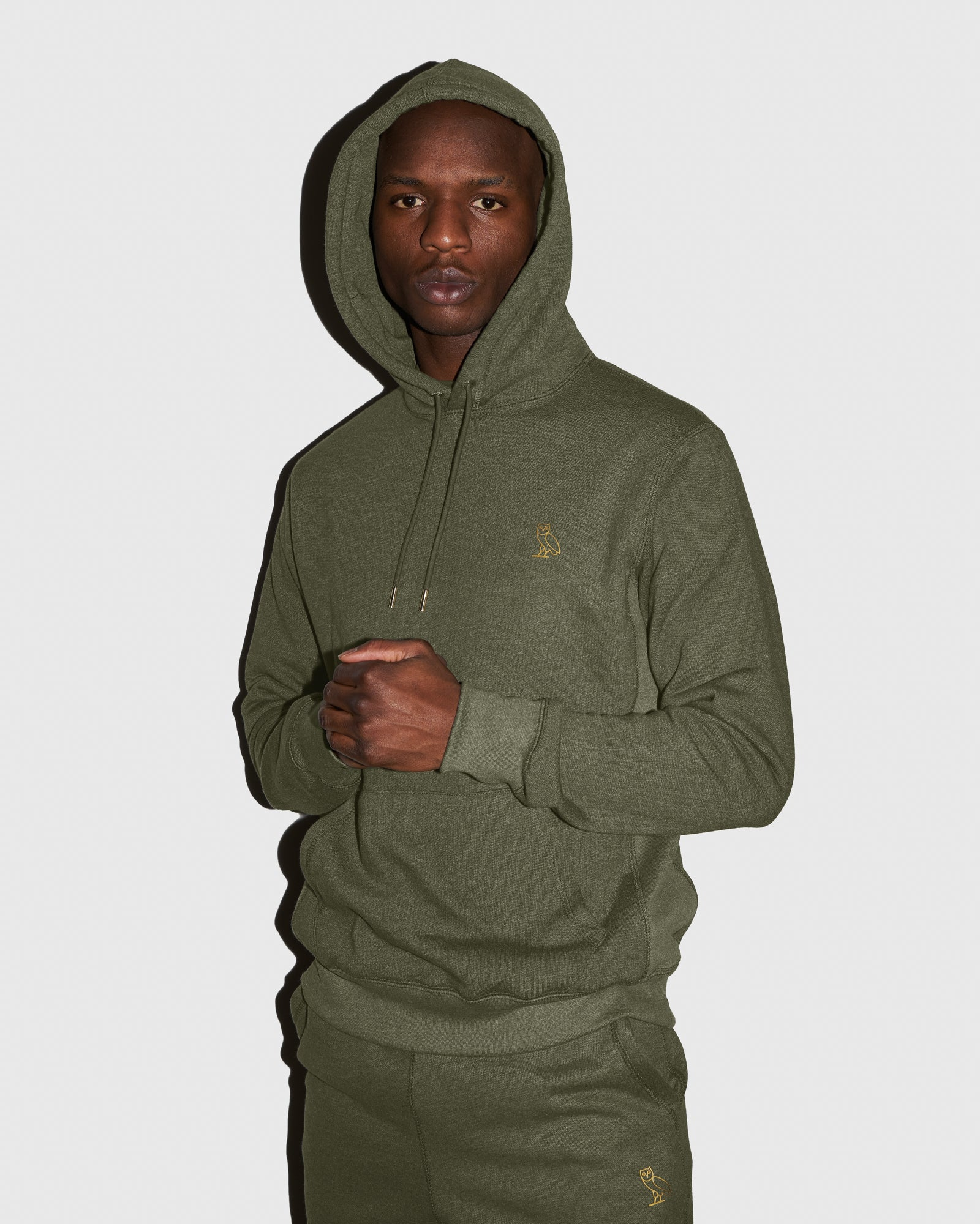 OVO FRENCH TERRY HOODIE - HEATHER MILITARY GREEN IMAGE #2