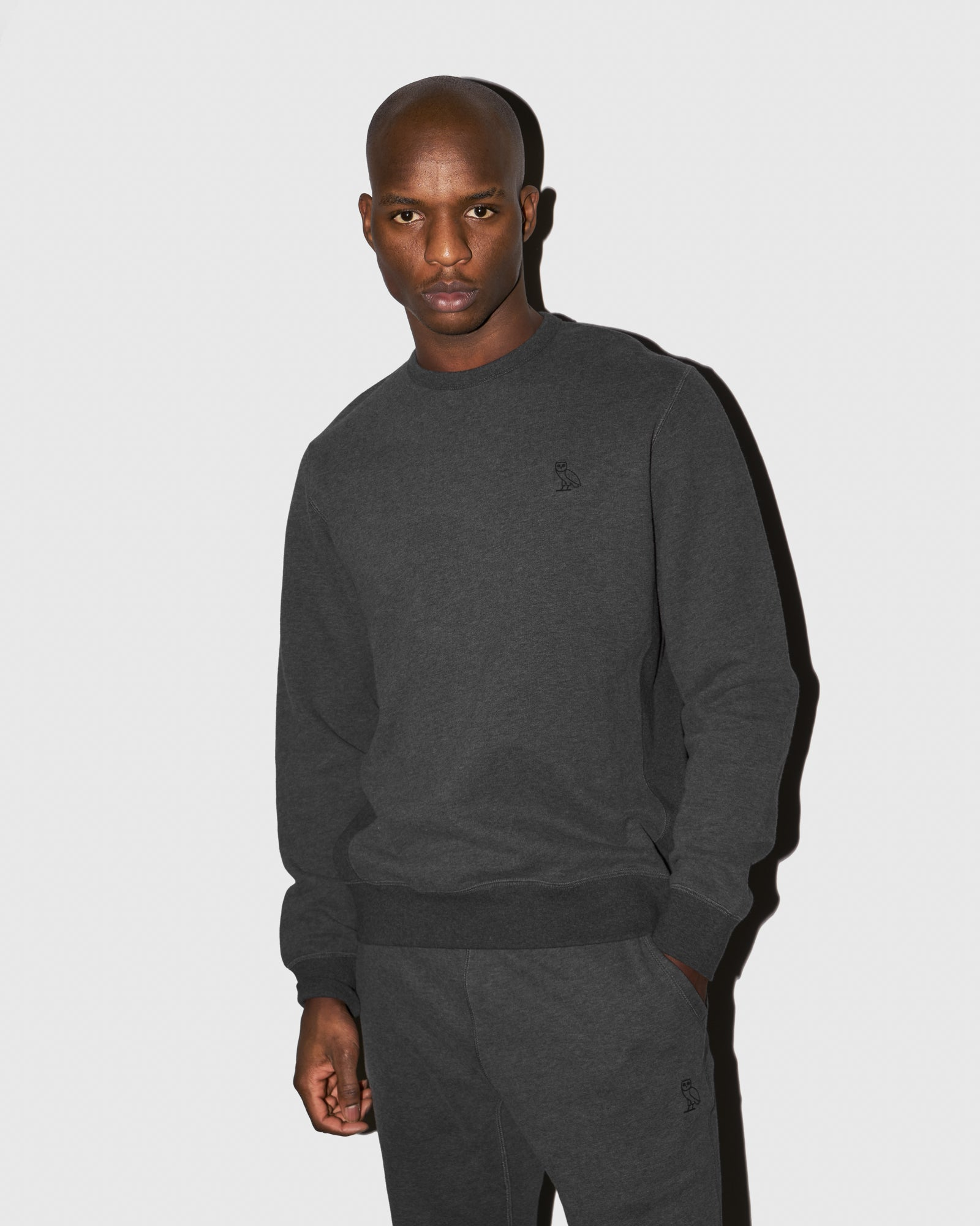 MID-WEIGHT FRENCH TERRY CREW - HEATHER CHARCOAL