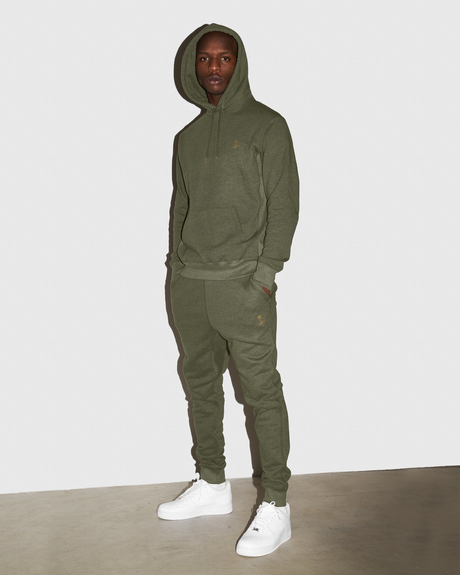 OVO FRENCH TERRY SWEATPANT - HEATHER MILITARY GREEN IMAGE #2