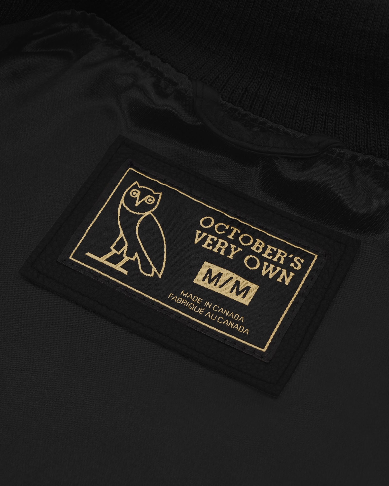 OVO GRADUATE MELTON LEATHER JACKET - BLACK