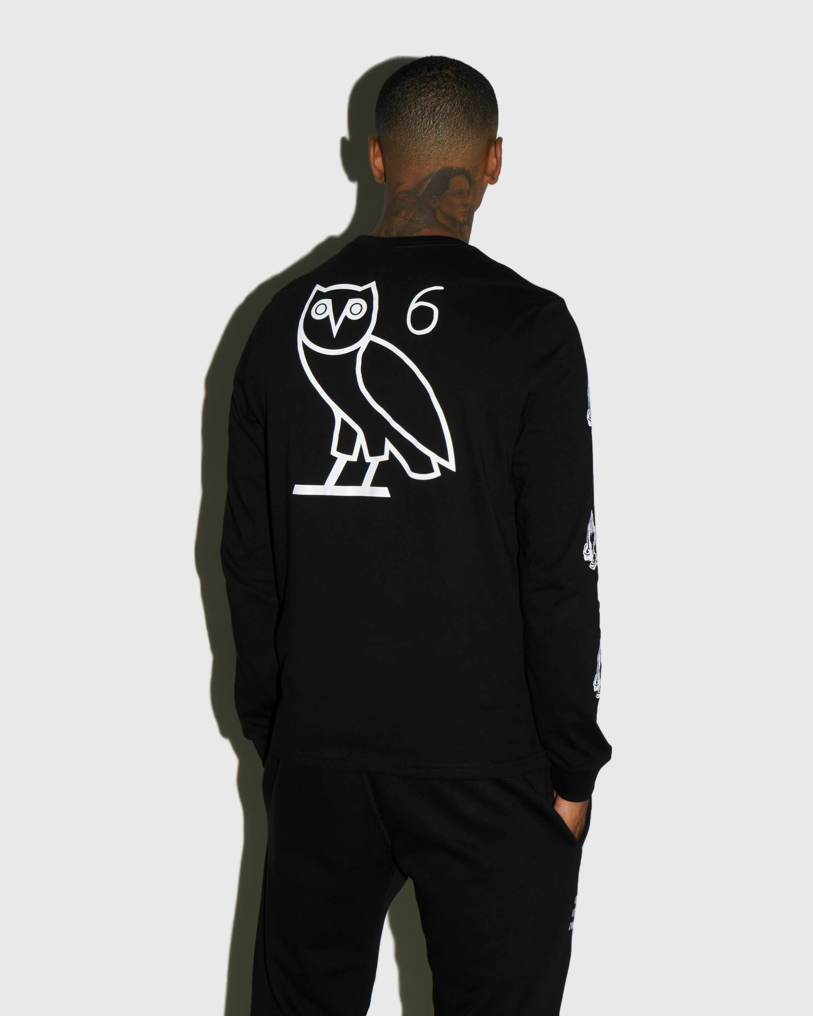 6 OWL LONG SLEEVE T-SHIRT - BLACK IMAGE #3