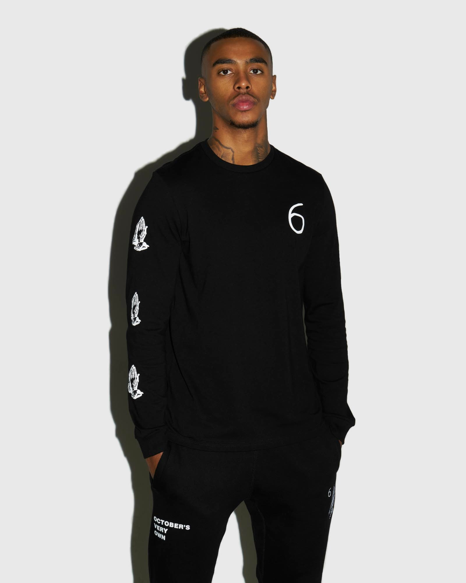 6 OWL LONG SLEEVE T-SHIRT - BLACK IMAGE #2