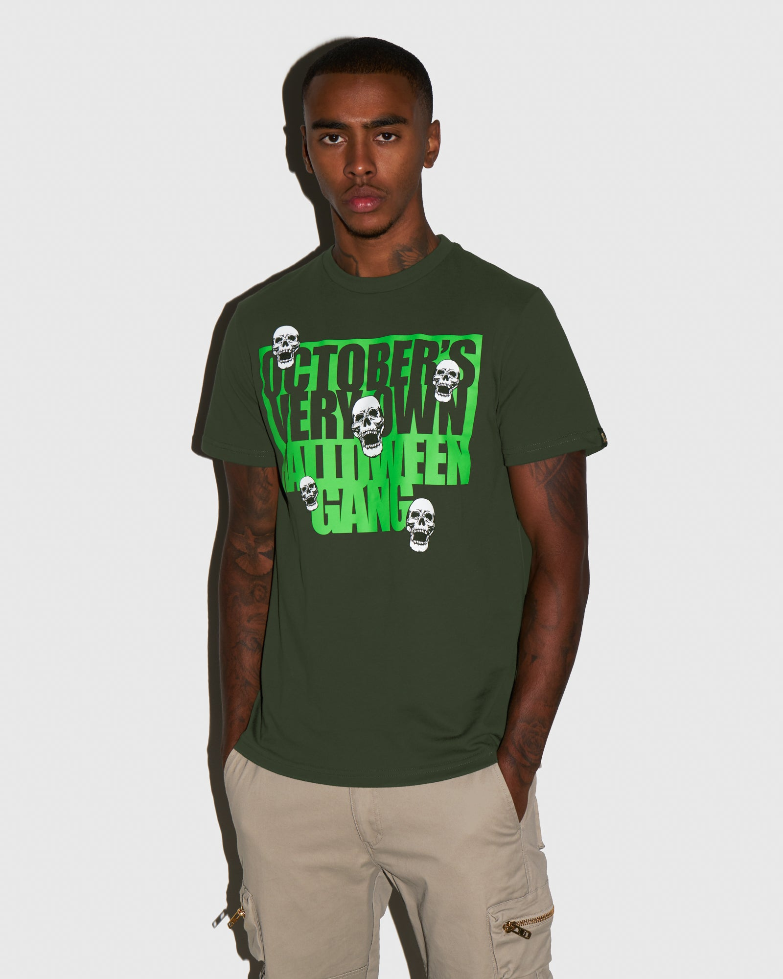 HALLOWEEN GANG T-SHIRT - MILITARY GREEN IMAGE #2
