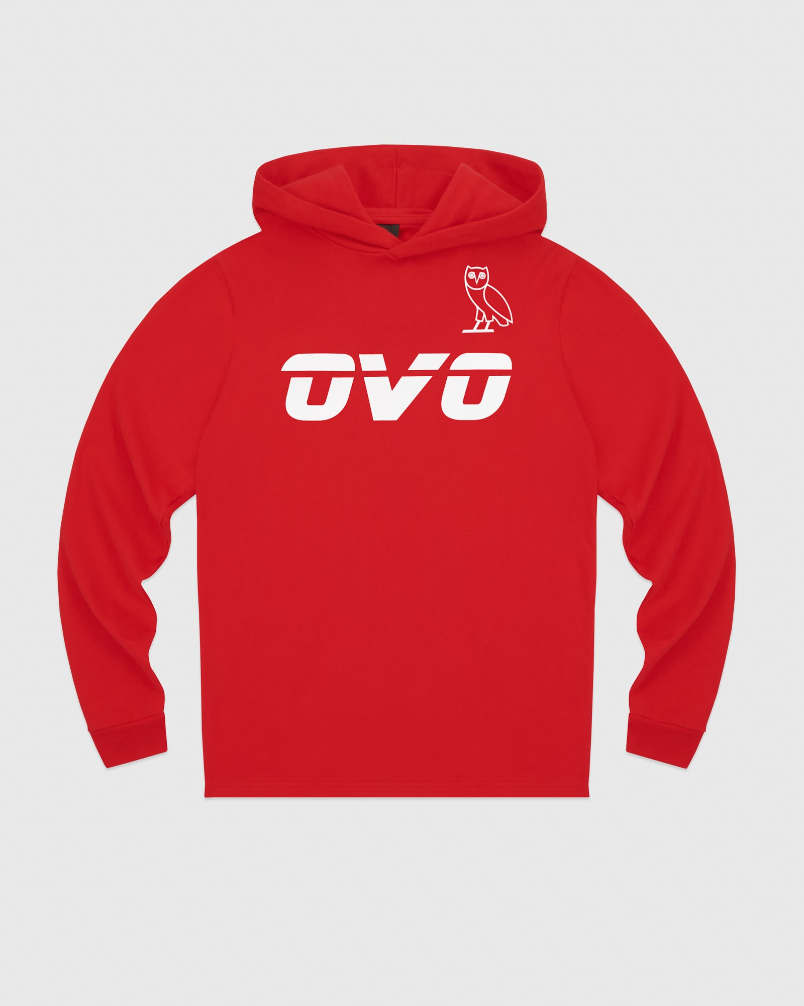 OVO RUNNER HEAVYWEIGHT JERSEY HOODIE - RED IMAGE #1