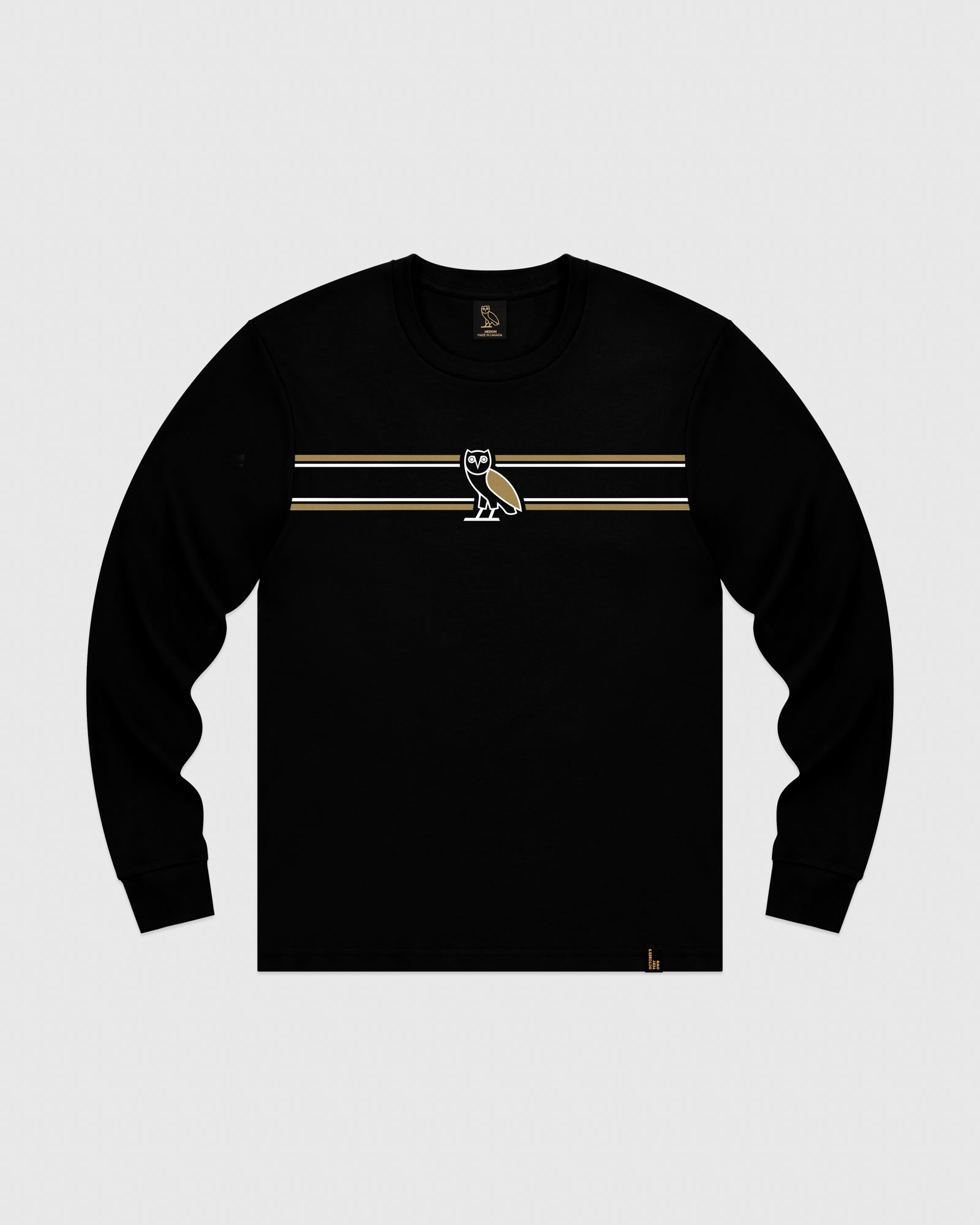 OVO CHEST STRIPE LONGSLEEVE - BLACK IMAGE #1