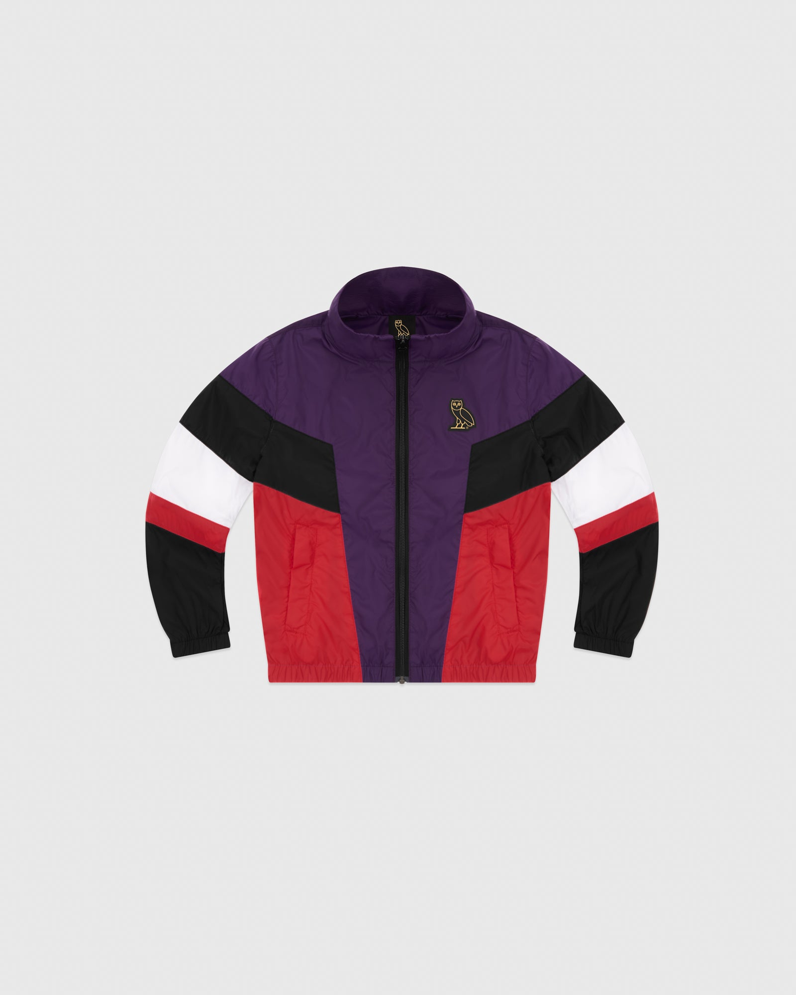 KIDS COLOUR BLOCK NYLON JACKET - RED IMAGE #1